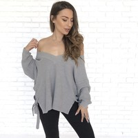 Comes With Perks Knit Sweater in Grey