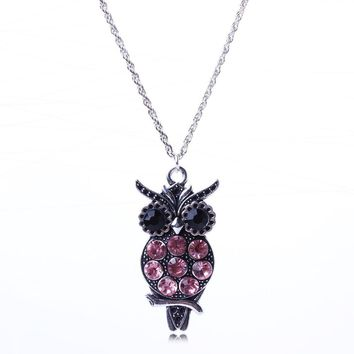 New Arrival Vintage Jewlery Pink Crystal Owl Pendant Necklace For Women Silver Color Pendant Necklace Wholesale Price XL5683