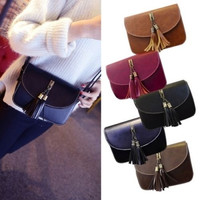 Fashion Lady Crossbody Handbag Tote Purse PU Leather Satchel Tassel  Messenger Shoulder Bag = 1645612292