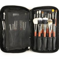 Lady Cosmetic Folio Makeup Brush Bag Make-up Handbag Pouches Holder Black