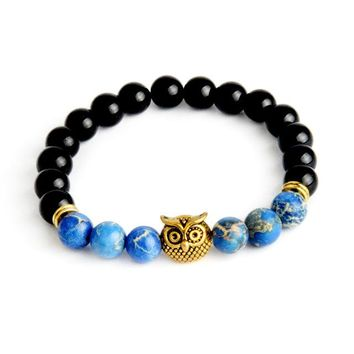 High Quality Owl Handmade Beaded Bracelet Charm Elastic Natural Stone Bracelet Men Women Lava Bracelet Jewelry HE-67