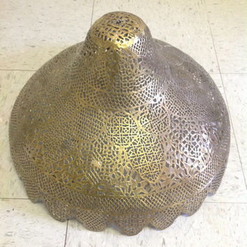 Reclaimed Large Antique Ornate Pierced Brass Turkish Moroccan Lamp Shade