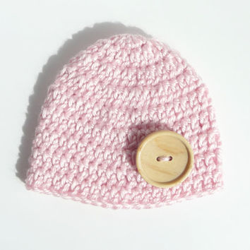 Baby Girl Hat Toddler Girl Hat Button Hat Baby Hat Crochet Hat Newborn Hat Button Beanie Infant Hat Knit Hat Pink Hat Baby Shower Gift Props