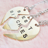 Gold Trio Triple Three Heart Locket Best Bitches Best Friend Friendship Pendant Necklace Jewellery Jewelry
