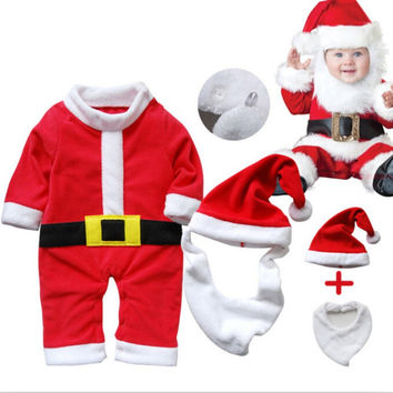 New 2016 Christmas Costume 3 PCS Baby Clothes Sets Baby Santa Claus Cosplay Long Sleeve Rompers+Hat +Mustache Toddle Suits L08