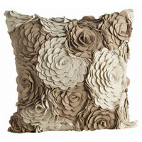 Alana Square Pillow Cover/Ivory/Taupe Wool by Arteriors