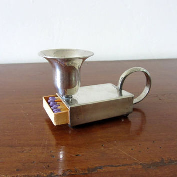 Antique French Silver Plate Matchbox Candle Holder