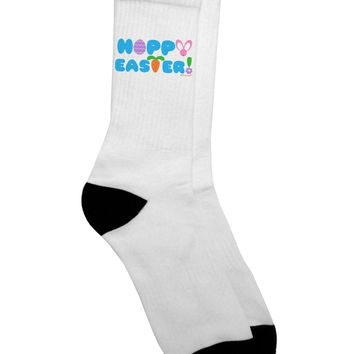 Cute Decorative Hoppy Easter Design Adult Crew Socks - by TooLoud