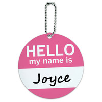 Joyce Hello My Name Is Round ID Card Luggage Tag