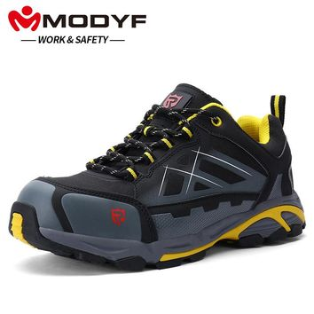 MODYF Men's Anti-static Non-slip Ankle Boots Steel Toe Work Safety Shoes Outdoor Fashion Sneakers Lightweight Puncture Proof