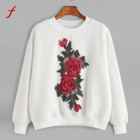 Feitong Women bts kpop Women Tops Fashion Flowers Embroidery Applique Tops White Pullover Sweatshirt moletom feminino 2017