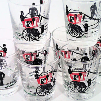 Vintage Horse and Carriage Shot Glass set of 8