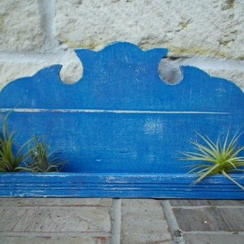 Bountiful BLUE Upcycled Unique Wall Shelf by timelessNchic