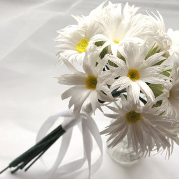 White Daisies Bouquet, Wedding Bouquet, Paper Bridesmaids Bouquet, Paper Bridal Bouquet, Wedding Decoration, Centrepiece, Decoration