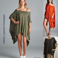 Cherish Poncho Top- All Season-Army Green, Rust, Dark Chocolate