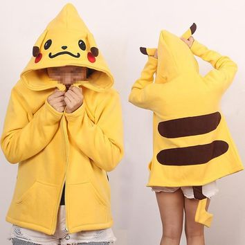 Pikachu Charmander  go lovely Cartoon With the tail Hooded Sweater Cosplay Costume Hoodies Cotton Women JacketsKawaii Pokemon go  AT_89_9