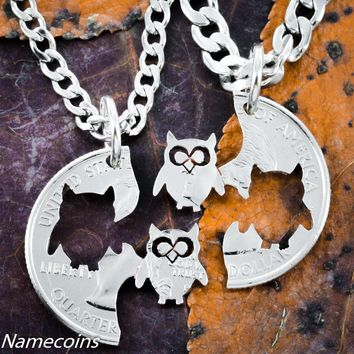 Owl Necklaces for Best friends, Hand Cut Quarter in half
