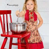 Holiday apron, toddler apron, little girls apron, kitchen accessory, Christmas, Reversible, mom and me apron,sparkle gingerbread man