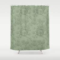 The Night Gardener - Endpapers Shower Curtain by Terry Fan