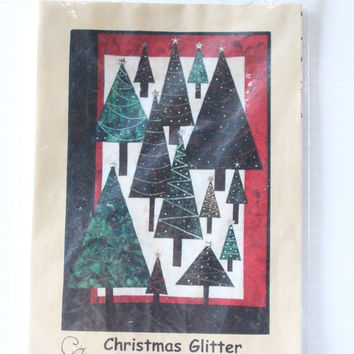 CHRISTMAS TREE QUILT Pattern, Christmas Glitter Embellished Wall Hanging, Dandelion Seed Design, Christmas quilt, quilt pattern,tree pattern