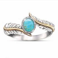 Magnificent Women's Jewelry 925 Sterling Silver Turquoise Feather Ring 18K Gold Proposal Gift Cocktail Party Rings Bridal Weddin