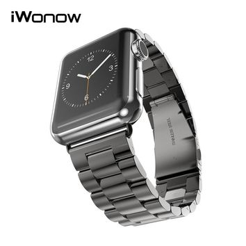 Stainless Steel Watchband + Adapter for iWatch Apple Watch Series 1 2 38mm 42mm Wrist Band Link Strap Bracelet Black Gold Silver