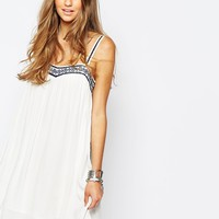 Pull&Bear Strappy Embroidered Smock Dress