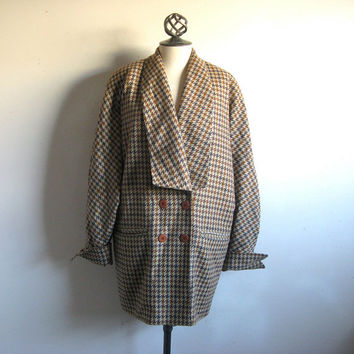 Vintage 1980s Bruestle Coat Wool Brown Gray Check Light Jacket 10 Medium