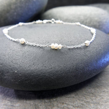 Delicate Bracelet Teeny Tiny Freshwater Pearls Bridal Jewelry Sterling Silver Gypsy Bride Ethereal Wedding Minimalist Design Simple Style