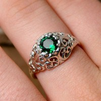 Envy  Sterling Silver Ring with Emerald by Firefallstudios on Etsy