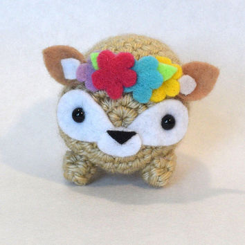 Cute Crochet Deer with Flower Crown Amigurumi