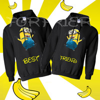 Two minion black Hoodies sweatshirts that say best friend.