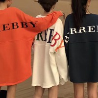 """Burberry"" Women Casual Fashion Letter Print Loose  Multicolor Long Sleeve Pullover Sweater Loose Tops"