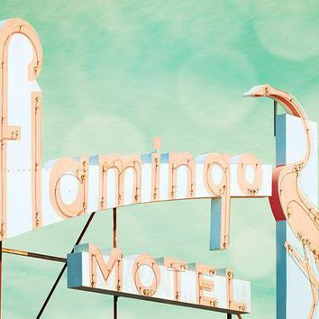 Vintage Sign Guest Room Pink Flamingo Kitsch Decor Mid Century Dusty Rose Blue Green Bird Neon Motel Doo Wop
