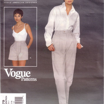 Vintage Vogue 1379, American Designer, Calvin Klein Jeans, Misses Shorts and Pants, Size 14, 16, 18