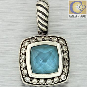 David Yurman Albion Sterling Silver Blue Topaz Diamond Enhancer Pendant