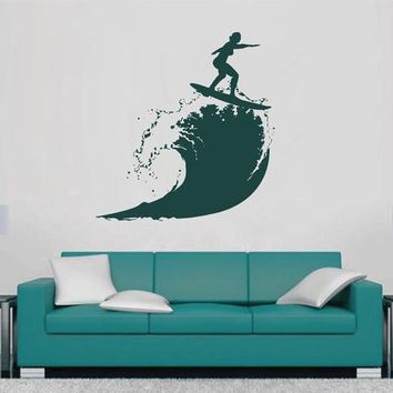 ik2598 Wall Decal Sticker wave surfing board sports shop stained living room