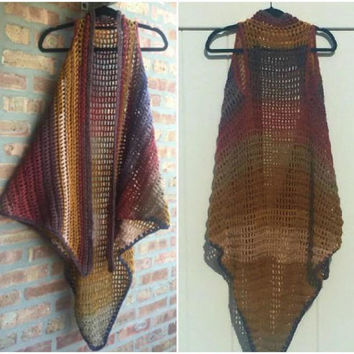 Long Vest Crochet Shawl Boho Retro Hippie Handmade Handcrochet Choose Your Color Made to Order