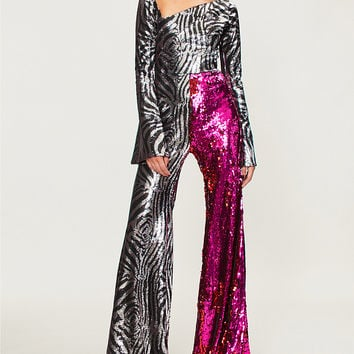 HALPERN Flared sequinned jumpsuit