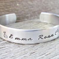 Bracelet NAME Hand Stamped Jewelry Cuff Personalized Kids Children's Name Quote Made To Order NEW Font Cursive Feminine Birthday