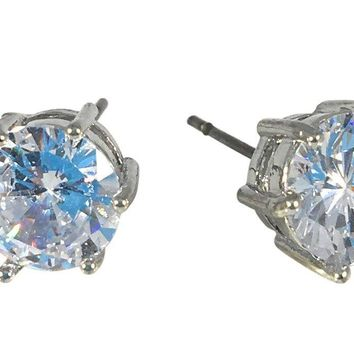 Cubic Zirconia Earrings Round Silver Plated Stud 8mm, 0.31""