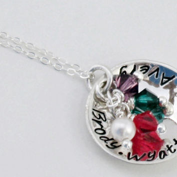 "Hand Stamped Grandma or Mommy Jewelry Sterling Silver Necklace 3/4"" Disc Perfect for Mother's Day"