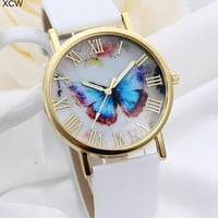 Top Selling Leather Strap Band Rose Gold Plated Butterfly Pattern Fashion Women Watches [7861176647]
