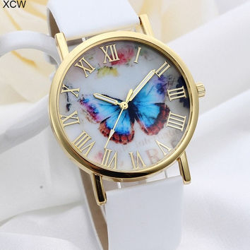 Top Selling Leather Strap Band Rose Gold Plated Butterfly Pattern Fashion Women Watches = 5987843393