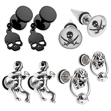 BodyJ4You 8PCS Fake Gauge Taper and Earrings Set Stainless Steel Skull Stud Cheater Faux Jewelry