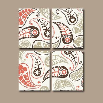 PAISLEY Wall Art, Bedroom Pictures, CANVAS or Prints Pottery Bathroom Bathroom Decor, PAISLEY Bedroom Art Set of 4 Home Home Decor Pictures