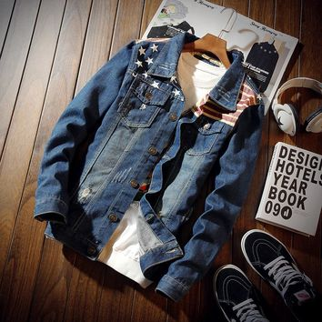 2018 Spring and Autumn Stars and Stripes Denim Jacket Men Fashion restore ancient ways Hole Jacket Casual Jeans Clothing 3XL
