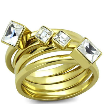 Golden Eye - FINAL SALE Crystal And Gold Stainless Steel Stacked Ring Set