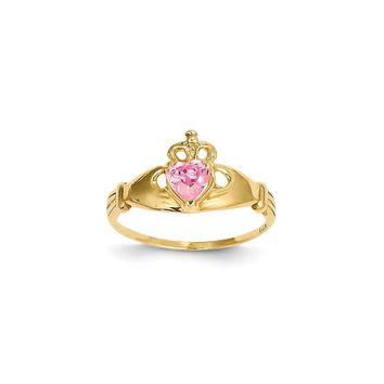 14k Yellow Gold CZ October Birthstone Claddagh Heart Ring
