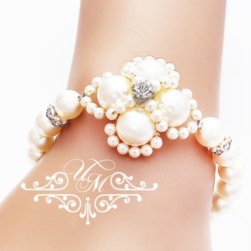 Wedding Jewelry Single strand Swarovski Pearl Bracelet Bridal Bracelet Bridesmaids Bracelet Bridal Jewelry Bridesmaids Jewelry - AUDEY